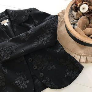 Talbots Black Rose Floral Blazer Jacket